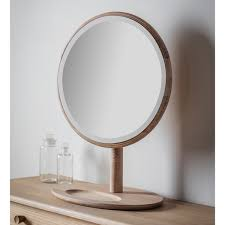 table mirror: wooden framed round dressing table mirror  x cm