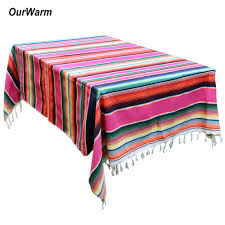 <b>OurWarm</b> 150X215cm <b>Mexican Blanket</b> Stripe Tablecloths for ...