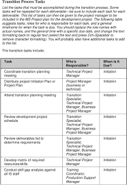 transition plan template pdf the following table suggests tasks roles for who is responsible for each task and