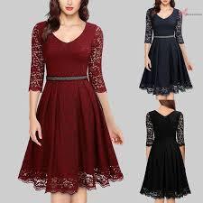 B&S Women Dress Lace Solid Color V Neckline <b>Three Quarter</b> ...