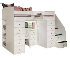 white finish wooden twin loft bunk bed office space
