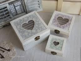 Купить <b>Набор шкатулок</b> Сердечки - комбинированный, <b>шкатулка</b> ...