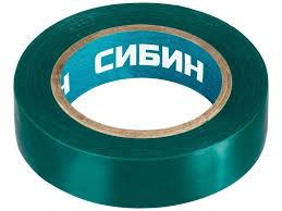 <b>Изолента Сибин ПВХ 15mm</b> x 10m Green - ElfaBrest
