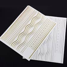 2pcs Gold <b>Silver</b> Line Nail <b>Stickers</b> Stripe Wave 3D Nail Art <b>Sticker</b> ...