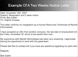 notice letter examples weeks  creative designs example of a two weeks notice letter