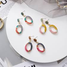 <b>Korean Fashion</b> Drop Glaze Oval Earrings Long <b>Geometric Dangle</b> ...