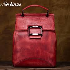 Norbinus <b>Women</b> Natural Cowhide <b>Backpack Rucksack</b> Genuine ...