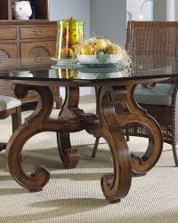 Glass Top Pedestal Dining Room Tables Curving Brown Wooden Legs With Round Glass Top Feat Brown Rattan