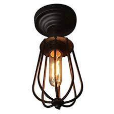 Fuloon <b>Vintage Retro</b> Iron Ceiling Lamp Flush Mount Light ...