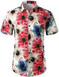 JOGAL <b>Men's Flower</b> Casual Button Down Short Sleeve <b>Hawaiian</b>