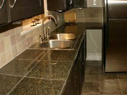 Kitchen Tile Countertop Kitchen With Wooden Cabinets And Sleek Ceramic Tile Countertops