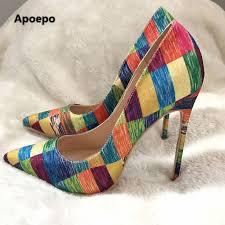 Apoepo <b>women</b> pumps mixed <b>colors</b> sexy high heels pumps shoes ...