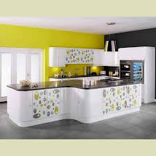 f beautiful yellow wall paint scheme for modern kitchen design displaying white lacquer polka dots kitchen island with half bullnose edge profile dark beautiful modern kitchen lighting pendants yellow