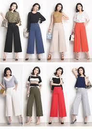 Brand New Women Wide Leg Cropped <b>Pants</b> High Waist <b>Plus</b> Size ...