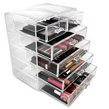 plastic makeup organizer put bathroom: sorbusar acrylic cosmetics makeup and jewelry storage case display  large and  small drawers space saving stylish acrylic bathroom case