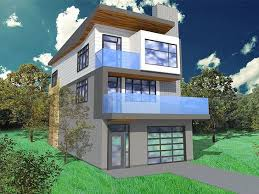 Narrow lot house plans  House plans and Modern house plans on    Narrow Lot House Plan  H  modern  too busy  but good proportions