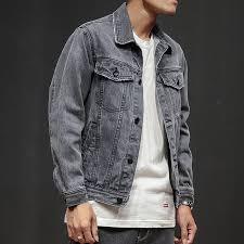 <b>2018 New Men</b> Jean Jacket Gray <b>Vintage</b> Distressed Denim Jacket ...