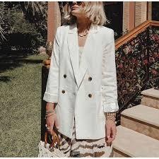 <b>Double Breasted White</b> Black Blazer Female Long Sleeve Office ...
