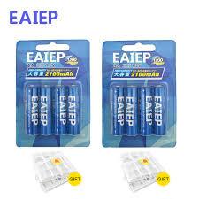<b>EAIEP</b> 8Pcs AA <b>Battery</b> Rechargeable <b>Batteries</b> 1.2V AA 2100mAh ...