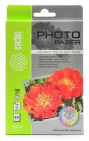 <b>Фотобумага Cactus CS</b>-<b>MA619025</b> 10x15/190г/м2/25л./белый ...