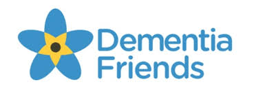 a blue forget me not flower and the words dementia friends