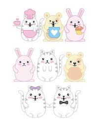 <b>kawaii animals mouse</b> kitty cat and rabbit <b>cartoon</b> vector illustration