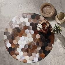 American Style Round Natural Cowhide <b>Patchwork Rug Genuine</b> ...