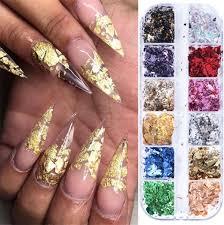 12 Grid/set Gold Silver <b>Irregular Aluminum</b> Foil Paper <b>Nail</b> Art Sticker ...