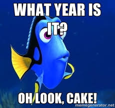 What year is it? Oh look, Cake! - Forgetful Dory | Meme Generator via Relatably.com