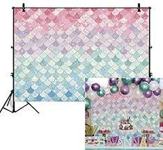 <b>Allenjoy</b> 8x6ft Soft Fabric Pastle Little <b>Mermaid</b> Scales <b>Backdrop</b>