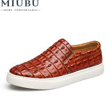 <b>MIUBU</b> Fashion Style leather <b>men</b> flats shoes Casual Crocodile ...