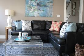 Of Living Rooms With Black Leather Furniture Black Leather Sofa Couch With Cushions Plus Block And Leather