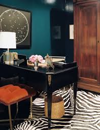 teal walls zebra rug via habitually chic chic mint teal office