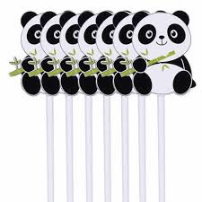 <b>10pcs</b>/lot <b>Disposable</b> Straws Cartoon Panda Theme Birthday Party ...