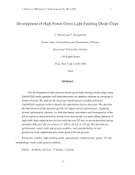 (PDF) Development of <b>High Power Green</b> Light Emitting Diode Chips