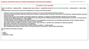 work experience certificates   clerical methods analyst