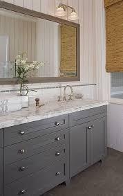 bathroom features gray shaker vanity: full overlay paint grade shaker style bathroom vanity cabinet in slate gray satin lacquer