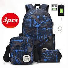 <b>3pcs</b>/<b>Set Men</b> Women <b>USB</b> Charging <b>Backpack</b> Waterproof Nylon ...