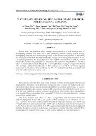 electrodeposition of particulate silver coating on <b>316l stainless steel</b>