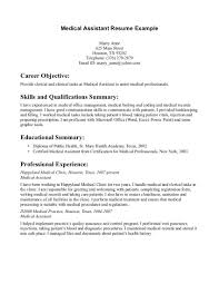 resume examples sample medical assistant resumes medical  resume examples medical assistant resume example for career objective skills and qualification summary or