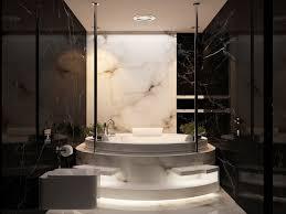 modern bathroom design marble stone wall