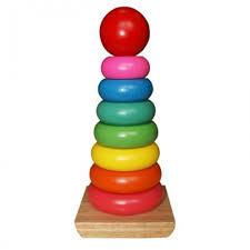 <b>Деревянная игрушка QiQu</b> Wooden Toy Factory Пирамидка Яркие ...