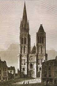 west faade of saint denis before the dismantling of the north tower c 1844 1845 basilica saint denis