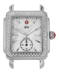 women s designer watches gold leather at neiman marcus michele 16mm deco diamond watch head steel