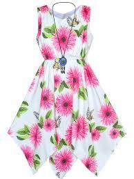 Sunny <b>Fashion</b> - Girls Dress Rose <b>Flower</b> Hanky Hem With ...
