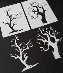 2pcs <b>Spooky Scary</b> Tree Wood Airbrush Mylar <b>Stencil Nightmare</b> ...