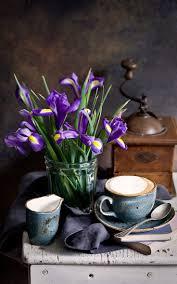 Фото Кофе Цветы Ирисы Пища Ложка <b>Чашка</b> Натюрморт ...