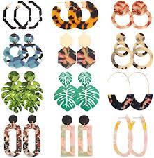 NEWITIN 12 Pairs Hoop Earrings Mottled <b>Acrylic Earrings Bohemia</b>
