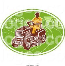 royalty vector logo of a farmer riding a lawn mower by royalty vector logo of a farmer riding a lawn mower