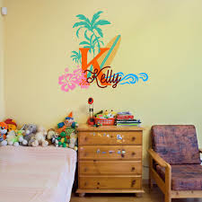 palm tree wall stickers: surfboard with name wall decal baby palm tree vinyl wall decals nautical nursery wall stickers summer